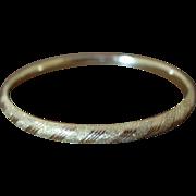 Vintage 14K Gold Bangle Bracelet Expandable Etched