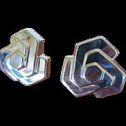 Vintage Silver Earrings Zina Art Deco Style