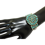 Navajo Silver Bracelet Turquoise Petit Point