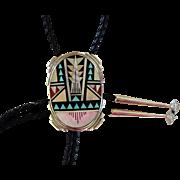 Vintage Zuni Bolo Tie Andrew Dewa Inlaid