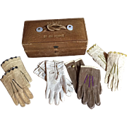 Antique Doll French Fashion Glove Box 4 Pairs of Gloves Very Scarce All Original Circa ...