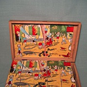 Vintage French Toy Puzzle Blocks Boy Theme Boxed Set Crisp Graphics