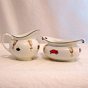 SALE Vintage Collectible Porcelain Sugar & Creamer Set Signed M.Z. Austria 1884-1909 MINT