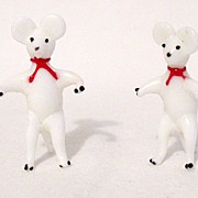 SALE Vintage Collectible Occupied Japan Miniature Glass Mice Figurines from 1946-51 MINT
