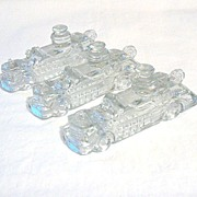 SALE Old Vintage Collectible Christmas Glass Candy Containers in Shape of Fire Engine 1940s Mi