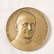 SALE Vintage Collectible Commemorative Mission to The United Nation Bronze Medallion by Pope .