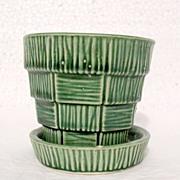 SALE Vintage Collectible McCoy Pottery Basket Weave Design on Green Flower Pot & Saucer ..