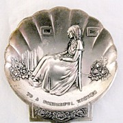 SALE Collectible Metal Ashtray with Whistlers Mother as A  Raised Design Marked To A Wonderful