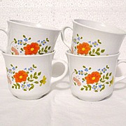 Vintage Collectible Pyrex Corning Ware Four Cups with Floral Motif 1970-80s
