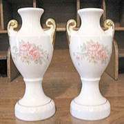 SALE Vintage Collectible Pair Bud Vases With Floral Motifs 1940-50s Mint