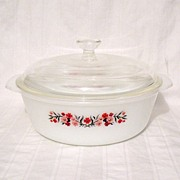 Vintage Collectible Anchor Hocking Fire King 2-Qt Casserole With Original Knob Lid Primrose Pa