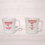 Vintage Collectible 2-Advertising Milk Glass Mugs for Hahnaman Elevator Inc by Fire King & Fed