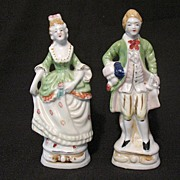 SALE Vintage Pottery Occupied Japan Large Colonial Figurines Late 1940s Early 1950s