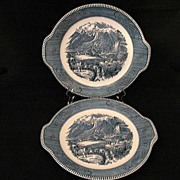 "Vintage Collectible 2-Royal China Currier & Ives 10 1/2"" Tab Handled Chop Plates~Rocky Mt"