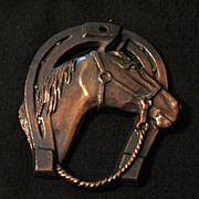 SOLD Vintage Collectible Metalware Horse Shoe Wall Plaque~Copper Washed