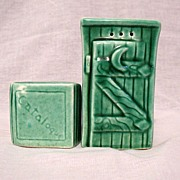 SOLD Vintage Collectible Salt & Pepper Shakers in The Shape of An Outhouse With Catalogue 1940