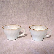 SALE Vintage Collectible (4) Anchor Hocking Fire King Shell Demitasse Cups Gold Trim Rim 1972-