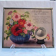 SALE Vintage Collectible Motto Print Plaque A Wish Of Happiness For Mother 1930s