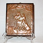 SOLD Vintage Collectible Scottie Dog Hammered Copper Wall Plaque 1930-40s Excellent Condition