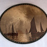 SALE Vintage Collectible Oval Print of Ships Resting In The Water Before The Storm Made In Ger