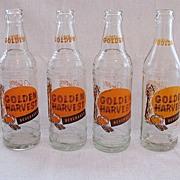 Vintage Collectible (4) 10oz. Harvest Soda Bottles Hawes Bottling Works Freeport, Illinois 195