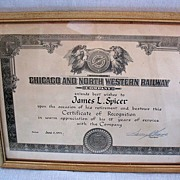 SALE Vintage Collectible Chicago & Northwestern Railroad 25 Years Service Award Presented To J