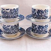Vintage Collectible Churchill England 4-Sets Cup & Saucer In Currier & Ives Blue Pattern Mint