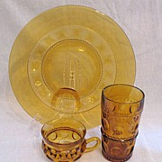 SOLD Vintage Collectible Indiana Glass (8) Amber Snack Sets King's Crown  Plate Cup & Tumbler