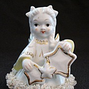 Vintage Collectible Angel Figurine Having Spaghetti Trim & Gold Paint Holding Stars 1950s Mint