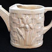 Vintage Shawnee Pottery Planter Watering Can Embossed Tulips On Basketweave Pattern