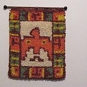 SALE Vintage Collectible Indian Water/Peyote Bird Latch Hook Rug 1960-70s Folk Art Very ...