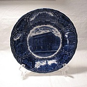 SALE Vintage Flow Blue Ottawa Illinois Souvenir Plate Turn Of The Century Made In England
