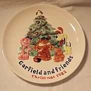 SALE Vintage Collectible Ceramic Garfield & Friends Christmas 1982 Plate Enesco 1981 Mint ...