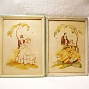 SALE Vintage Collectible Pair Of Southern Couples Courting Prints 1930-40s Excellent