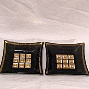 Vintage Collectible Retro Square Smoky Glass Candy/Nut Treat Dishes 1950-60s Excellent Conditi