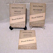 SALE (3) Vintage Boy Scouts Explorer Instructor Guide Pamphlets Proof Editions 1950 Very Good