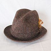 SOLD Vintage Hand Woven Harris Tweed Stetson Fedora Hat 1950-60s Excellent Condition