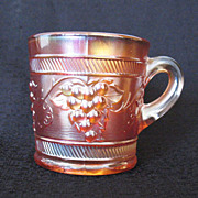 Vintage Collectible Marigold Carnival Glass Mug with Bands & Grapes Motif Early 1900s Mint