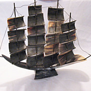 SALE Vintage Collectible Sailing Ship Made From Cow Horn 1940-50s Very Good Condition