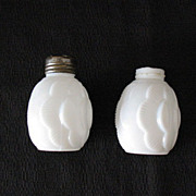 SALE Vintage Milk Glass Shakers Turn of The Century Layered Effect Motif