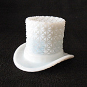 SALE Vintage Milk Glass Top Hat with Buttons & Bows Motif