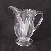 SALE Vintage Collectible Crystal Pitcher Having a Rosette Motif With Vertical Rays/Icicles Lat