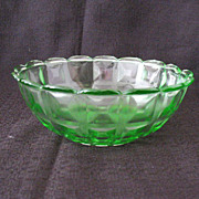 Vintage Collectible Westmoreland Specialty Co 1924 Transparent Green Bowl Reeded Waffle/Berlin