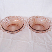 SALE Vintage Old Colony/Lace Edged 9 ½ Inch Pink Ribbed Bowls 1935-38