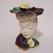 SALE Vintage Lady Head Vase Burgundy Hat & Dress 24K Gold Accents 1960s Excellent Condition