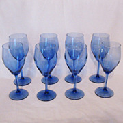 SALE Vintage Collectible (8) Transparent Blue 6 Oz. Wine Glasses Like New Condition
