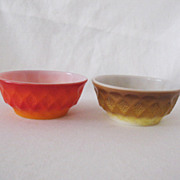 SOLD Two Vintage Anchor Hocking Fire King Cereal Bowls Kimberly Pattern 1950-60s Like New Cond