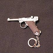 SALE Vintage Toy Keychain Replica Luger Hand Gun 1960-70s Very Good Condition