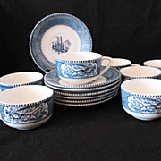 SALE Vintage Currier & Ives (7) Blue Cup & Saucer Sets 1950-70s Royal China Excellent Conditio