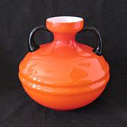 SALE Vintage 1930s Orange Czech Vase Applied Black Glass Handles Very Good Condition